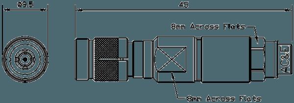 B04043070 Mini Balun Line Drawing