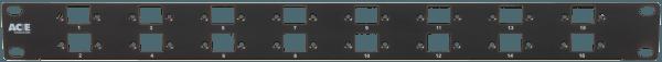M00HRJ16 Dual Balun Panel 16x Empty RJ Front