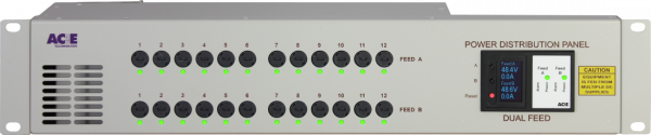 Dual feed -48V power supply with 24 fuses